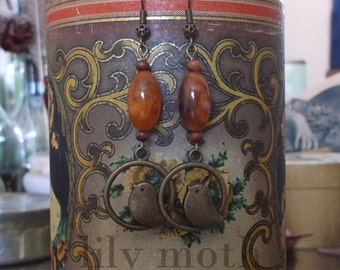Bird Earrings with Vintage Beads