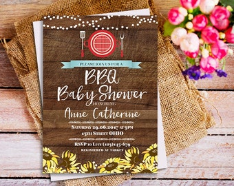 Baby Q Shower Invitation BBQ Baby Shower BABYQ Barbecue