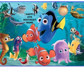 Fish Cake Topper Etsy - Nemo fish birthday cake