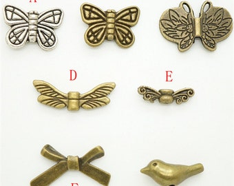 Animal Deluxe Charm Beads Collection - Butterfly Beads, Bird Beads Antique Bronze Tone Charm Beads