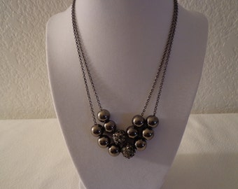 Stunning Vintage Grey and Rhinestone Beaded Necklace