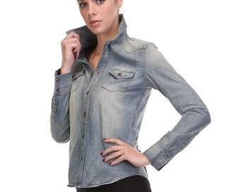 06040 Long Sleeve Denim Shirt Jacket