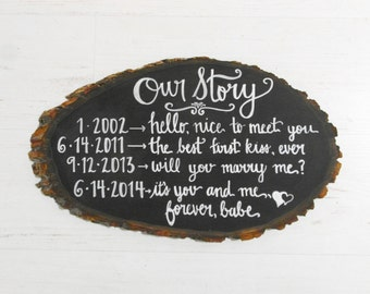 "Hand Painted Wood ""Our Story"" Sign - Perfect Gift for Wedding, Anniversary"