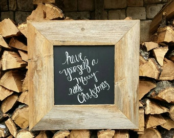 Reclaimed wood rustic wall frame with chalkboard Rustic chalk board wood message board Menu Board Sandwich Board Office Decor Kitchen Decor