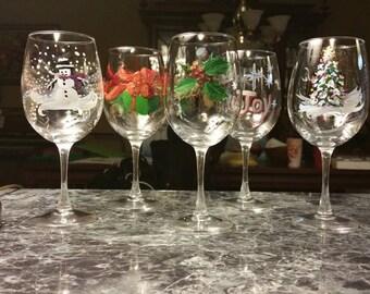 Christmas holiday wine glasses