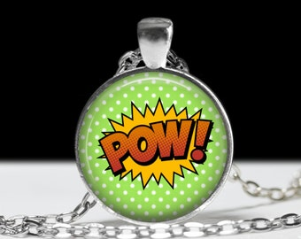 Pow Comic Book Necklace - Comics Sound Effect Jewelry - Punk, Hardcore, Gothic, Nerd, Geek, Geekery, Dork - 1 inch Silver and Glass Pendant