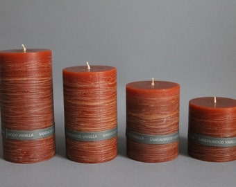 Sandalwood vanilla fragrance & rustic pillar candle handmade solid colours in 4 sizes