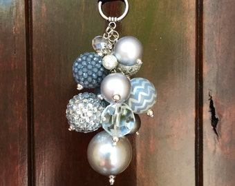 Rearview mirror charm Car Accessories for Women Cute Car Charm Silver Gray Beaded Charm Cluster Rear view mirror charm chunky Keychain