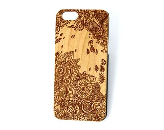Wind Flowers wood engraved case, iPhone 7 case, iphone 6 case, iphone 5 case, iphone 6 plus case, iphone 5c, samsung s5, s6, samsung note7