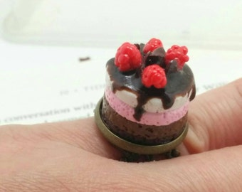 Miniature Chocolate Raspberry Mousse Cake,adjustable ring,Polymer Clay,Romantic,Tiny,Floral,Handmade Jewellery