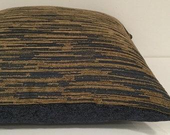 Designer Fabric - Dark Blue, Golden brown - 20 x 20 Woven Chenille