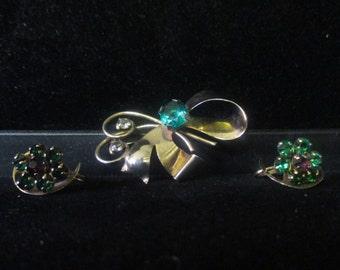 Vintage sterling pin & earring set