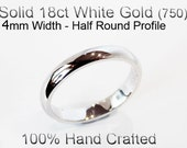 18ct 750 Solid White Gold Ring Wedding Engagement Friendship Half Round Band 4mm