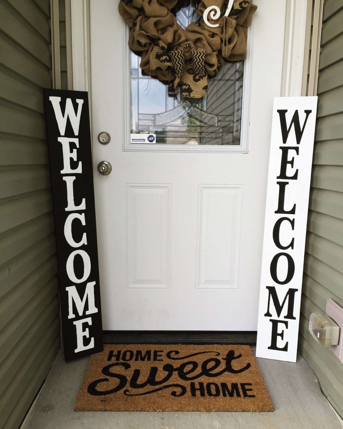 Wood Welcome sign Front porch welcome sign