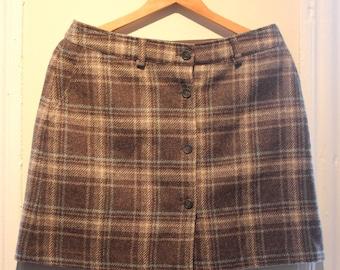 J.Crew Plaid Button Front Skirt