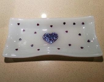 Fused Glass Wavy Dish - Hearts