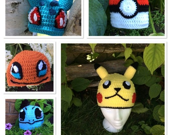 Pokemon Go crocheted hats, Pikachu, Bulbasaur, Squirtle, Charmander and Poke Ball