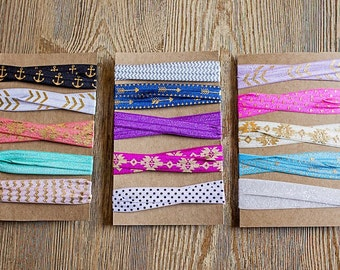 Choose your Own Set of 5 Colorful Elastic Headbands