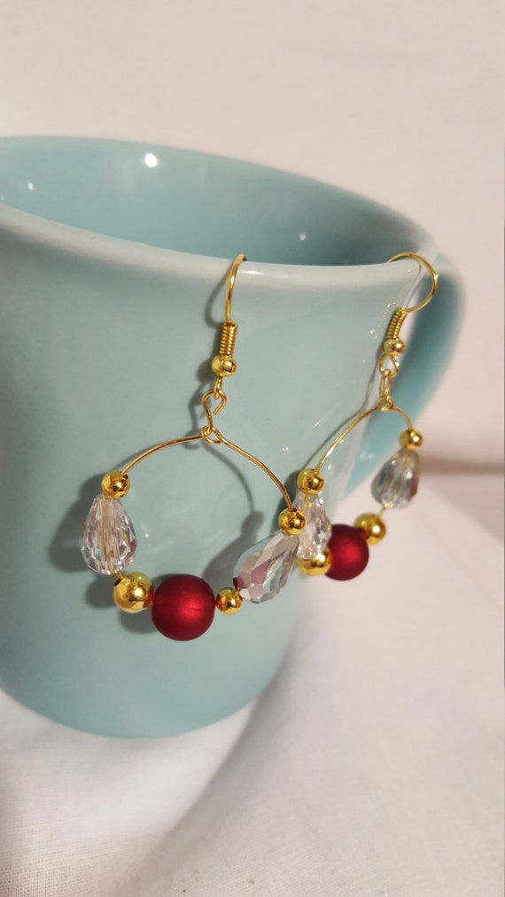Gold crystal dangling hoop earrings free shipping red and white crystals IU