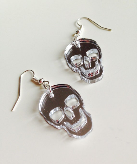 Skull | Halloween | Monster | Emo | Mirrored | Silver | Laser Cut | Acrylic | Earrings