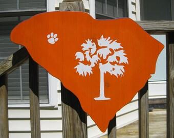 Clemson tigers reclaimed wood sign, Reclaimed wood wall art, Clemson man cave, Clemson graduation gift, Clemson dorm sign