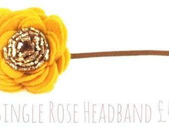 Single Rose Flower Headband Mustard / Cream and Gold