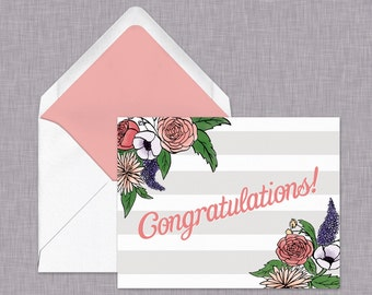 Congratulations  Card // Stripes and Floral // Grey and Pink