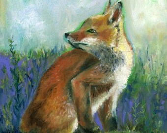 Archival PRINT of Fox Painting, 12x12 inch, Fine art reproduction