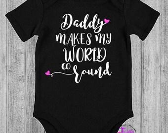 Daddy makes my world go round - personalised - add name- first - bodysuit - onesie - romper