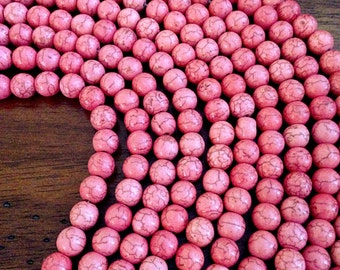 Bulk 90 pcs, 8mm Turquoise Beads, Pink Howlite Beads, Pink Turquoise Beads, Round Turquoise Beads, Craft and Jewelry Supplies, Finding