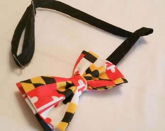 University of Maryland Pre Tied Bow Tie State Flag Adjustable UMD Maryland State Flag