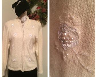 Vintage Beaded Angora Sweater, Karen Scott, PM