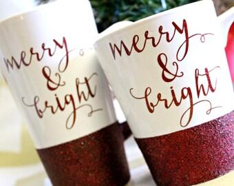 Christmas  Mug / Glitter Christmas Mug / Merry & Bright Coffee Mug / Christmas Gift for Her / Glitter Cofee Mug