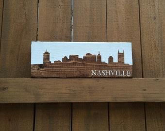 Nashville City Skyline Barn Wood Sign