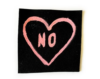 No Feminist Glitter Patch in Pink with Heart - Iron On No Sew Patch - Riot Grrrl Tumblr Quotes
