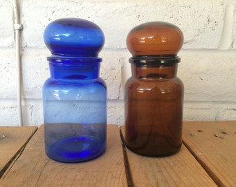Vintage Blue and Brown Apothecary Jars with Rounded Lid