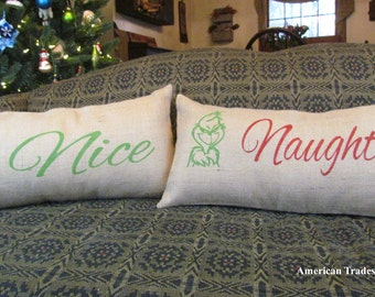 Grinch Christmas Pillows, Burlap Pillows, Naughty Nice, The Grinch And Max Pillows, Holiday Pillows, Two Pillows
