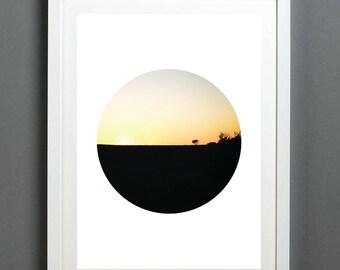 Circle Framed 'Farm' Digital Print