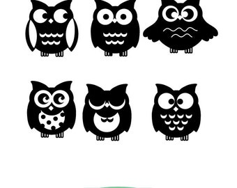 Owl  SVG files, Owl clipart, 6 Halloween owl designs, SVG and PNG  instant download, Halloween Vector Id#HC3