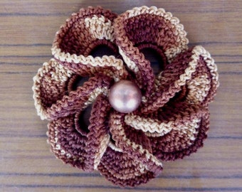 Сrochet brooch -Coton Brooch -Brown brooch - Melange brooch - Flower Brooch - Knitted Brooch - Hand-Knitted