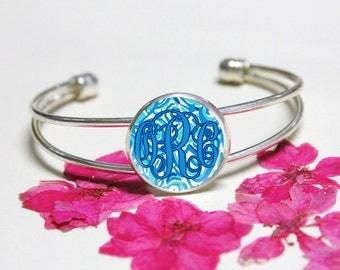 Lilly Pulitzer Monogram Bracelet Jewelry,Initial Bracelet,Custom Monogrammed Bracelet,Cuff Bracelets,Glass Bracelets,Sweet 16 Cuff Bracelets