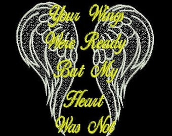 Your wings were ready....5x7  embroidery  file