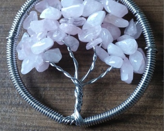 Tree of Life Rose Quartz Pendant Necklace Natural Gemstone Tumbled Wire Wrap Bodhi Tree Ascension888 Kemet Egypt Love Healing Romantic