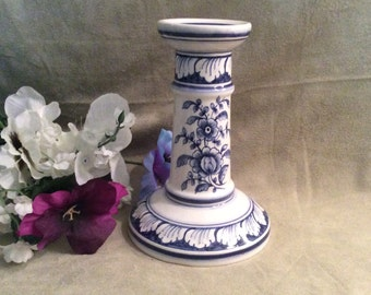 Portugal Blue on White Candle Holder / Lamp Base, Vintage Blue on White Candle Holder / Lamp Base Hand Painted in Portugal