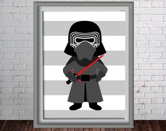 Printable Wall Art Print - 16x20, 8x10 and 11x14 Star Wars Force Awakens - Kylo Ren Digital Print - Instant Download - Can Customize