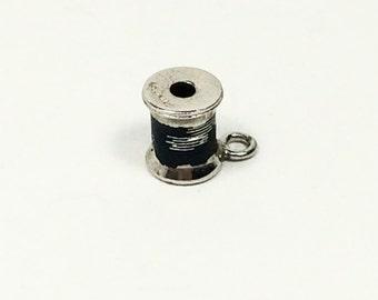 Sterling Silver 925 Vintage Bracelet Charm Spool of Black Thread .4g 6109
