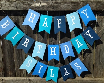 Happy Birthday banner. Happy Birthday banner personalized. Boy Birthday banner. Blue birthday banner.