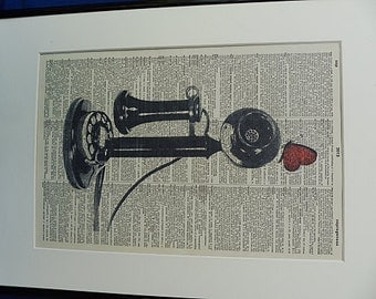 Telephone Print No.109, antique telephone, telephone poster, telephone print, girlfriend gift, wife gift, vintage telephone, dictionary art