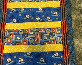 Pirate quilt for baby boy or toddler