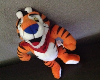 Retro Plush Tony the Tiger Kellogg's Frosted Flakes Cereal Moveable Premium Stuffed Toy 5 Promo Ad 1997